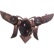 Art Nouveau 800 Silver Opal and Labradorite Moth Brooch Pin