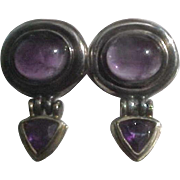 Estate David Yurman Hinged Sterling Silver & 14K Amethyst Earrings