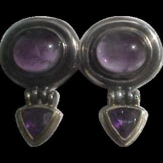 Estate David Yurman Hinged Sterling Silver & 14K Amethyst Earrings