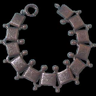Victorian Revival Danecraft Sterling Silver Book Chain Link Bracelet