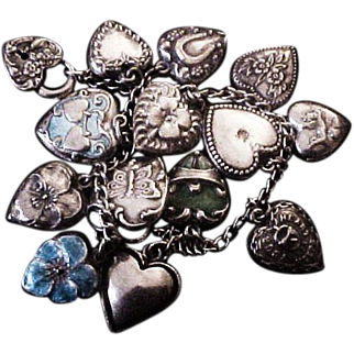 Gorgeous Vintage Sterling Silver Puffy Heart Bracelet with Enamel and Walter Lampl Hearts