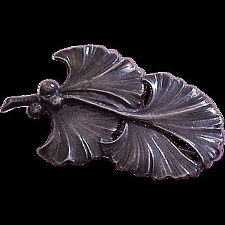 Jo Michels Huge Sterling Silver Ginkgo Leaf Brooch