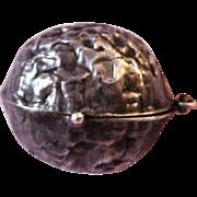 Early Sterling Silver Walnut Etui / Vanity Case