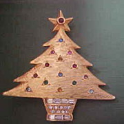 Vintage DeNicola Christmas Tree Brooch with  Rhinestones