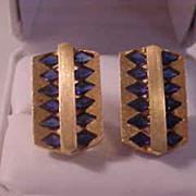 Lucien Piccard 14K Yellow Gold & Sapphire Cufflinks