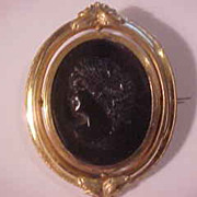 Fabulous  Large Victorian Mourning Swivel Cameo Brooch