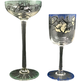 Emmy Seyfried Munich Enameled Art Glass Stems, ca. 1920