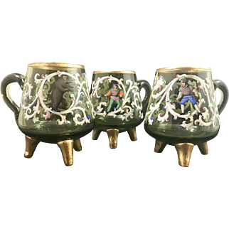 Harrach Neuwelt  for Lobmeyr Bohemian Art Glass Enameled Cups, set of 3, ca. 1870