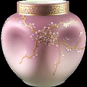 Loetz Early Sakura DEK III/115 enameled Victorian era glass vase, PN I-1808, ca. 1892