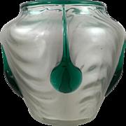 Loetz Candia wave optic with dark green drips, Bohemian Iridescent Art Nouveau Glass Vase, PN II-2015, ca. 1905