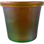 Loetz Candia Silberiris Rolled Rim Iridescent Art Nouveau Glass cup, made for E. Bakalowits, PN 85/5177, ca. 1903