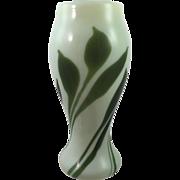Bohemian Art Nouveau Glass Inlaid Uranium Glass Vase