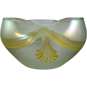 Bohemian Art Nouveau glass vase/bowl with inlaid decoration, ca. 1900, Loetz era
