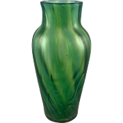 Iridescent Art Nouveau Swirled Bohemian Glass Vase, free formed, ca. 1900s