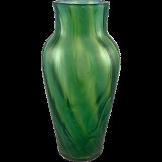Iridescent Art Nouveau Swirled Bohemian Glass Vase, free formed, ca. 1900s