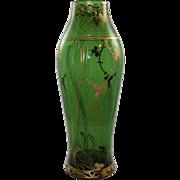 Harrach Glatt Maigrun (Smooth May Green) enameled art nouveau glass vase, ca. 1903