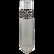 Moser Karlsbad Bohemian Facet Cut Art Glass Vase, Oroplastic Decoration, ca. 1922