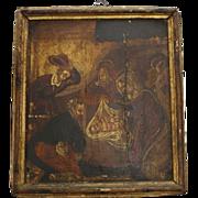 17th Century Panel Painting Icon Birth of Christ