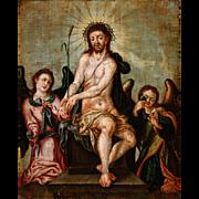 18th Century German or Flemish Oil Painting on Oak Panel- Man of Sorrows