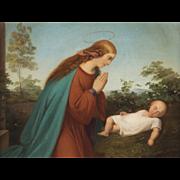 Nazarene Oil Painting, Mary and Baby Jesus, c. 1820