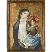 Icon painting on wood panel, Mary and Christ Child