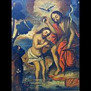 Baptism of Christ Painting of Spanish origin- circa 18th-19th century