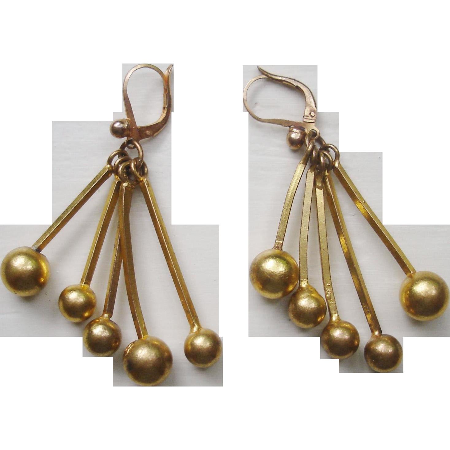 Vintage French Modernist Earrings, Gold Gilt