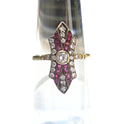 Romantic Diamond & Ruby Art Deco Ring 18k Gold