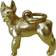 "Vintage 14k Solid Gold ""Boxer"" Breed Dog Charm"