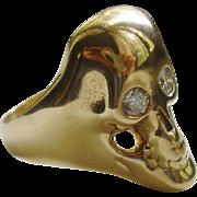 Large 14k Gold Skull Motif Ring with Diamond Eyes