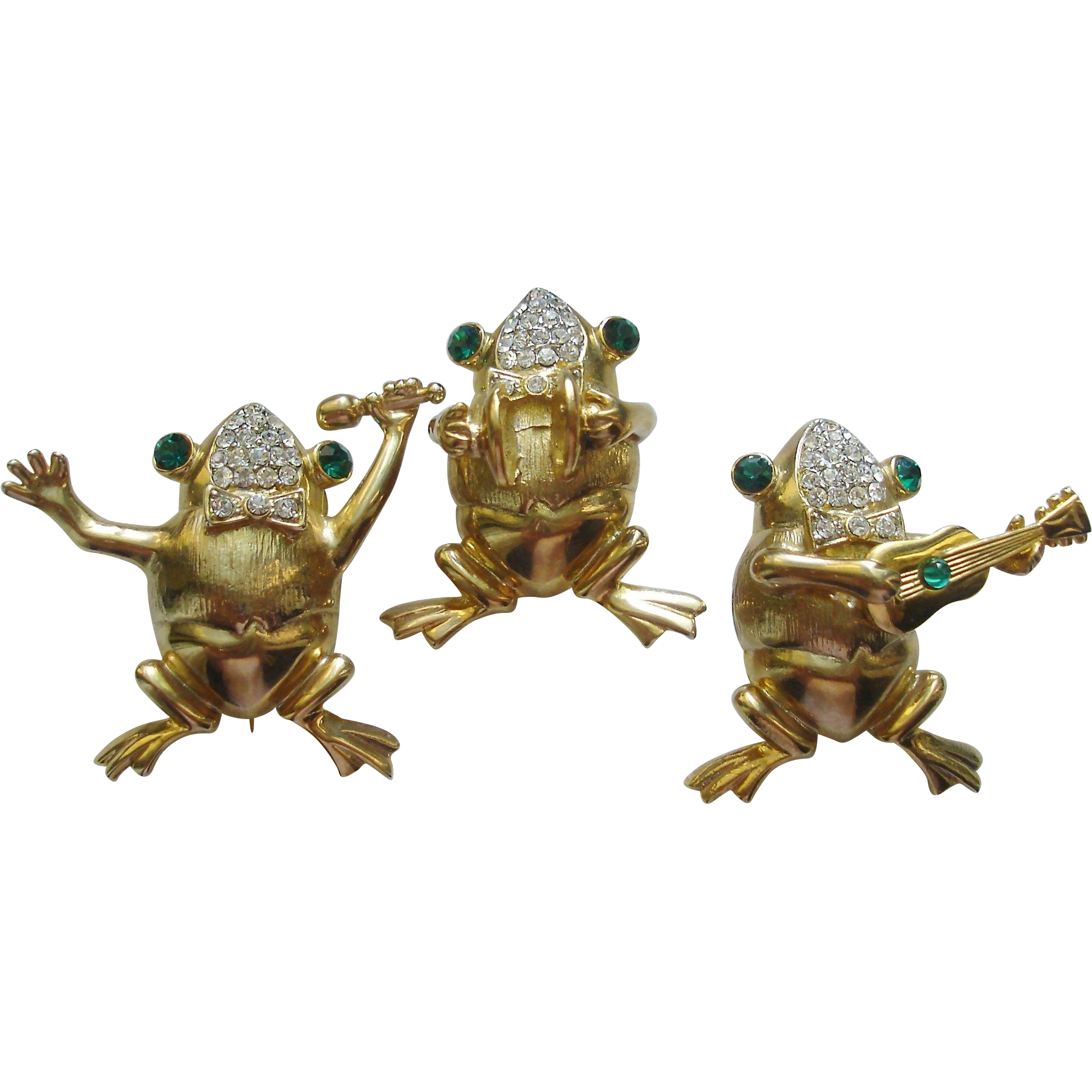 Three Vintage Frog Musician Pins, Brooches