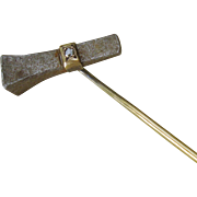 Victorian Iron Horseshoe Nail Stick Pin with 14k Gold & Rose Cut Diamond