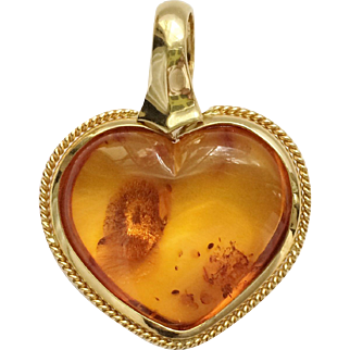 Russian Baltic Amber Heart Pendant in 14k Gold Setting