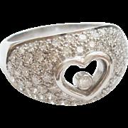 18K Gold Floating Diamond Heart Ring