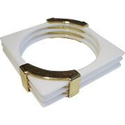 Fabulous White Lucite & Brass Bangle Bracelet, circa 1970's