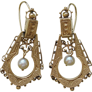 Victorian Aesthetic Movement 10K Gold, Pearl Drop Earrings