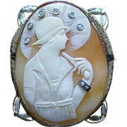 Beautiful Art Deco 14k Gold Cameo of Lady with Diamonds