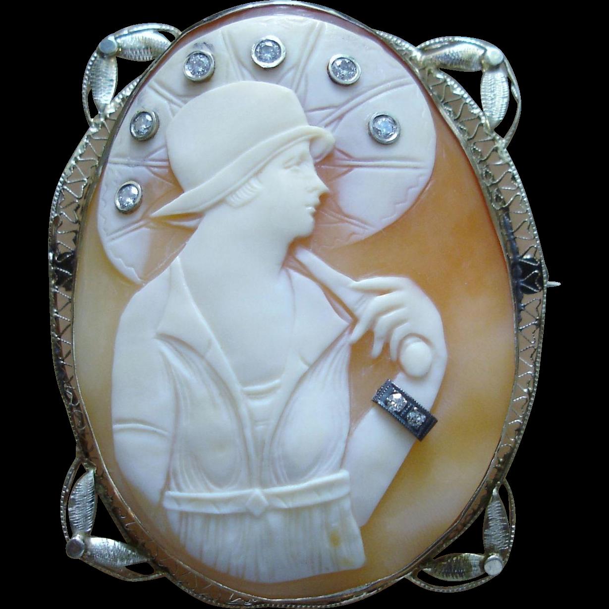 Beautiful Art Deco 14k Gold Cameo of Lady with Diamonds