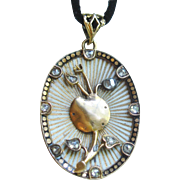 Superb Victorian Memory Locket in 14k Gold, Enamel & Rose Cut Diamonds