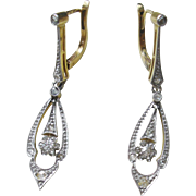 Vintage 18k Gold and Platinum Diamond Earrings, French c.1920