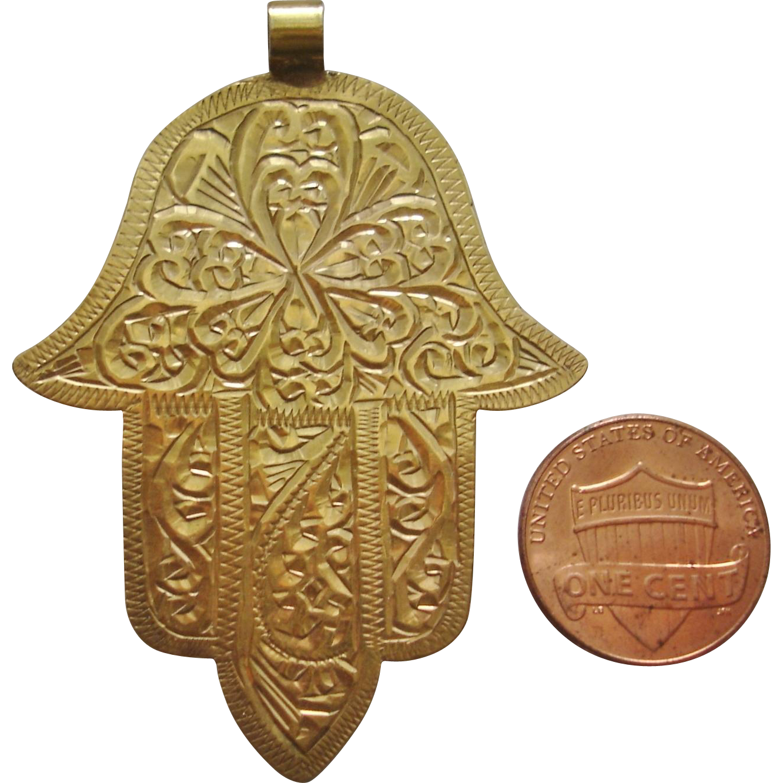 Rare antique 20k gold moroccan hamsa hand of god pendant linda rare antique 20k gold moroccan hamsa hand of god pendant linda sherrie antiques ruby lane aloadofball Image collections