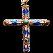 Chinese Cloisonne Enamel & Agate Sterling Cross Pendant