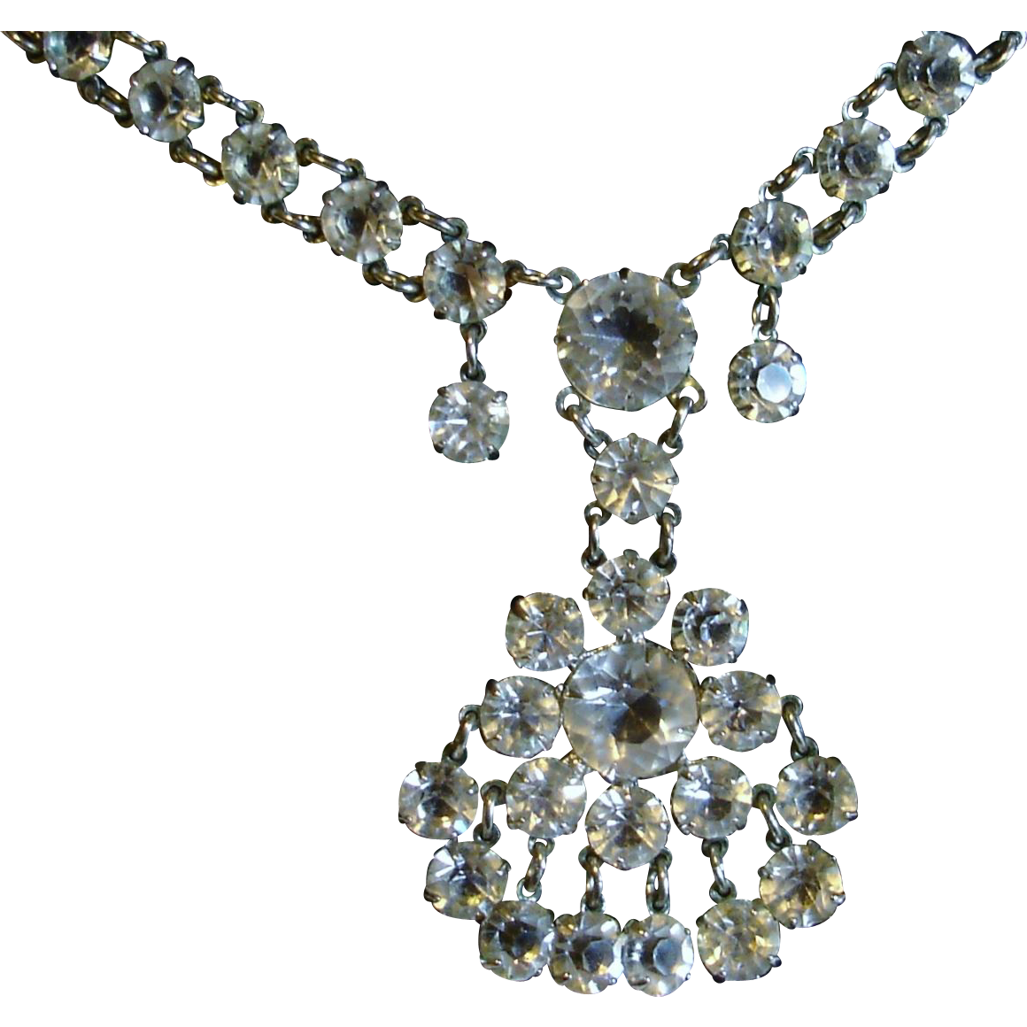 Silver Open Back Paste Necklace, circa 1920-30's