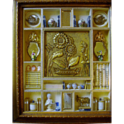 Extremely Rare Vintage Shadow Box with 19th Century European Miniatures