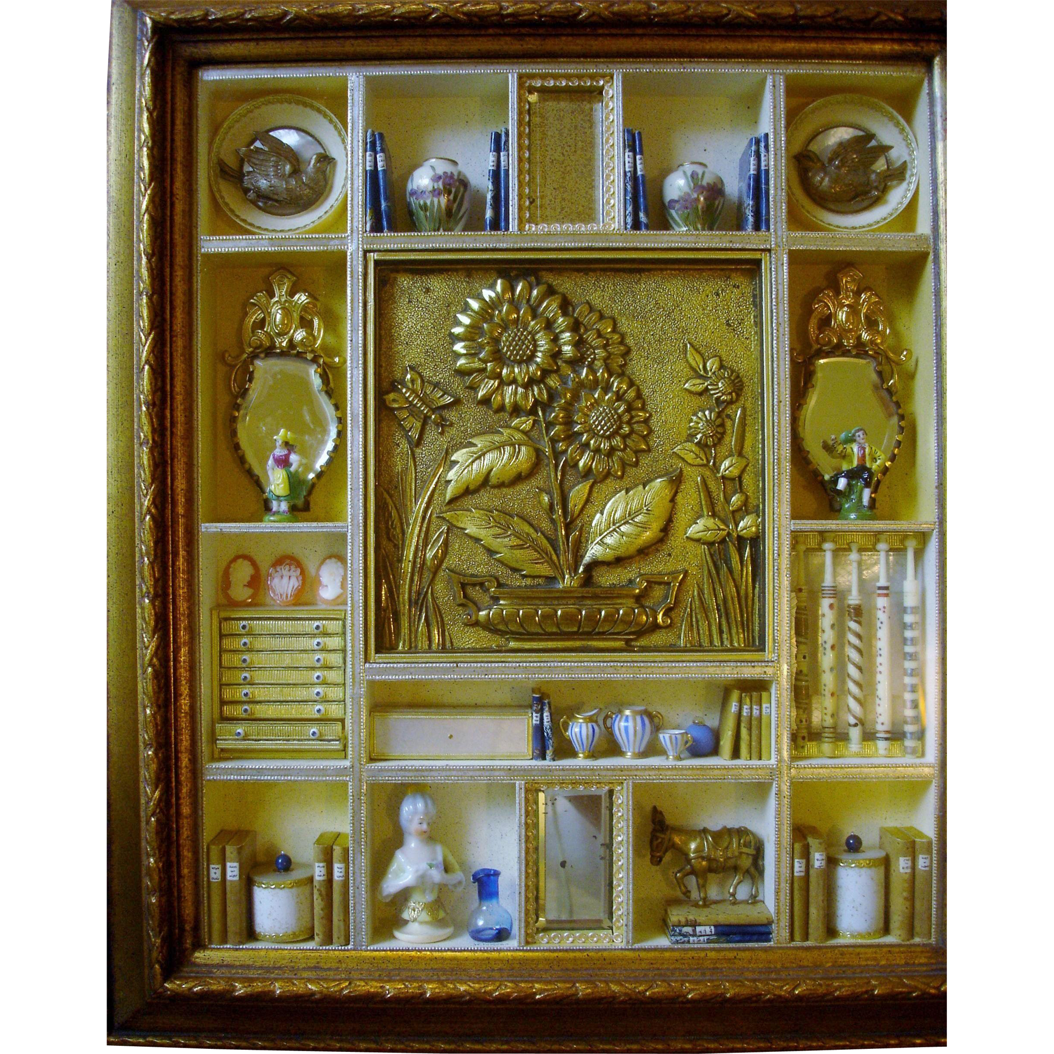 Extremely Rare Vintage Shadow Box with 19th Century European Miniatures - Red Tag Sale Item