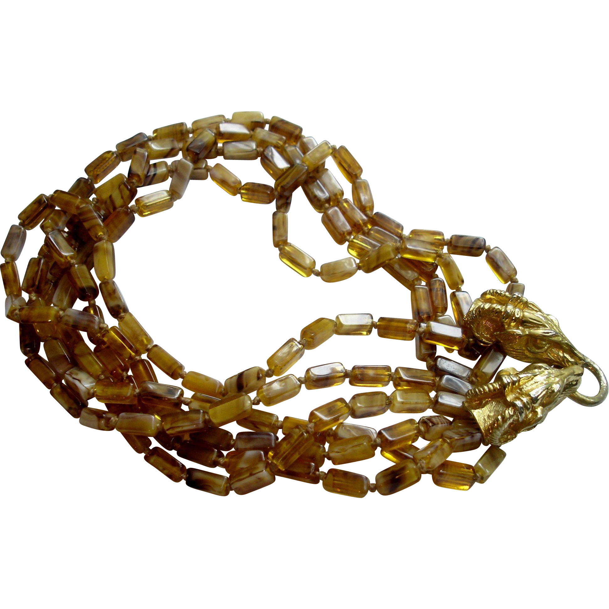 Vintage Donald Stannard (for KJL) Tortoise Glass and Rams Head Necklace, circa 1960-70's