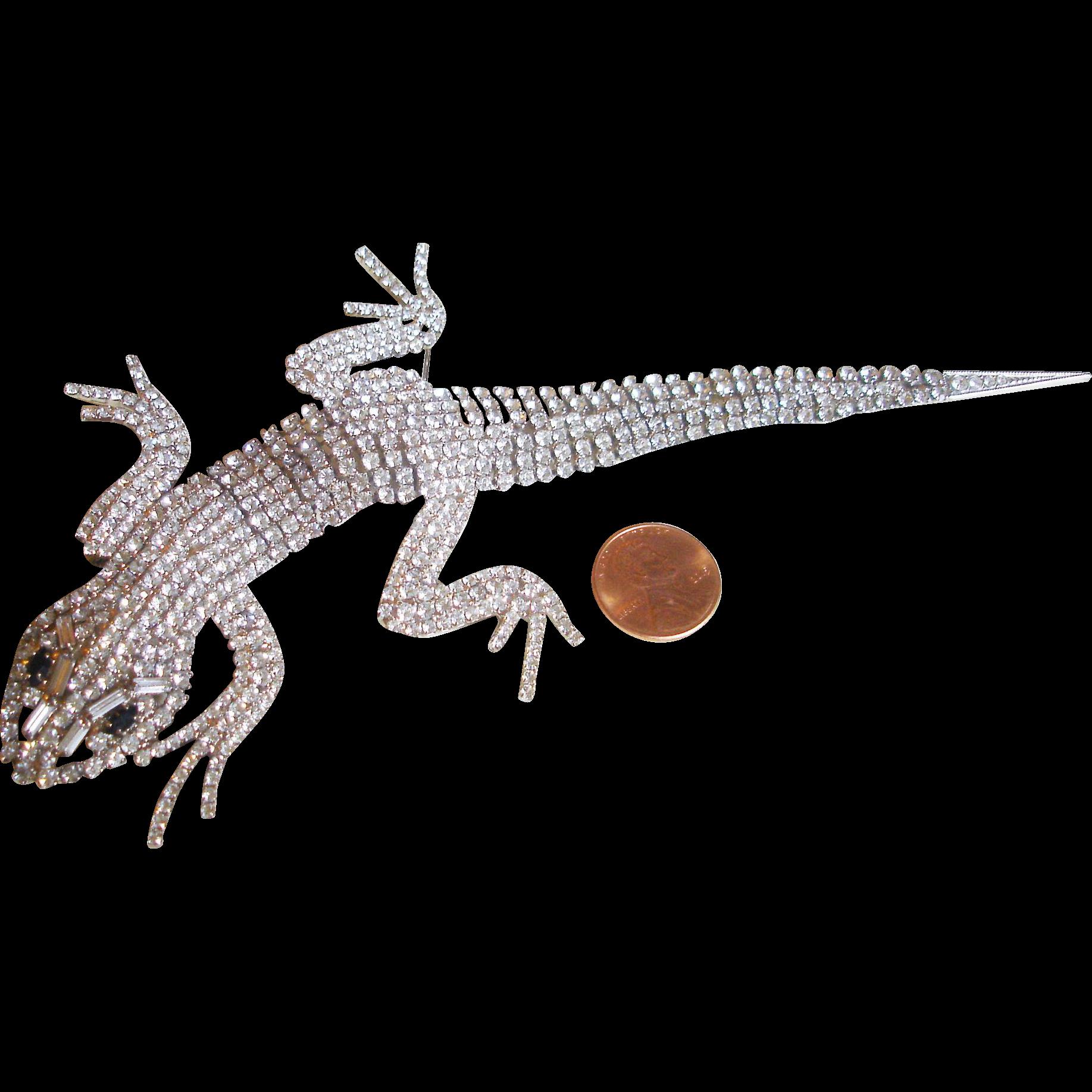 Butler & Wilson Articulated Lizard Crystal Brooch, circa 1980's