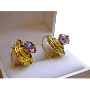 Victorian 14k Gold Ornate Etruscan Amethyst Earrings