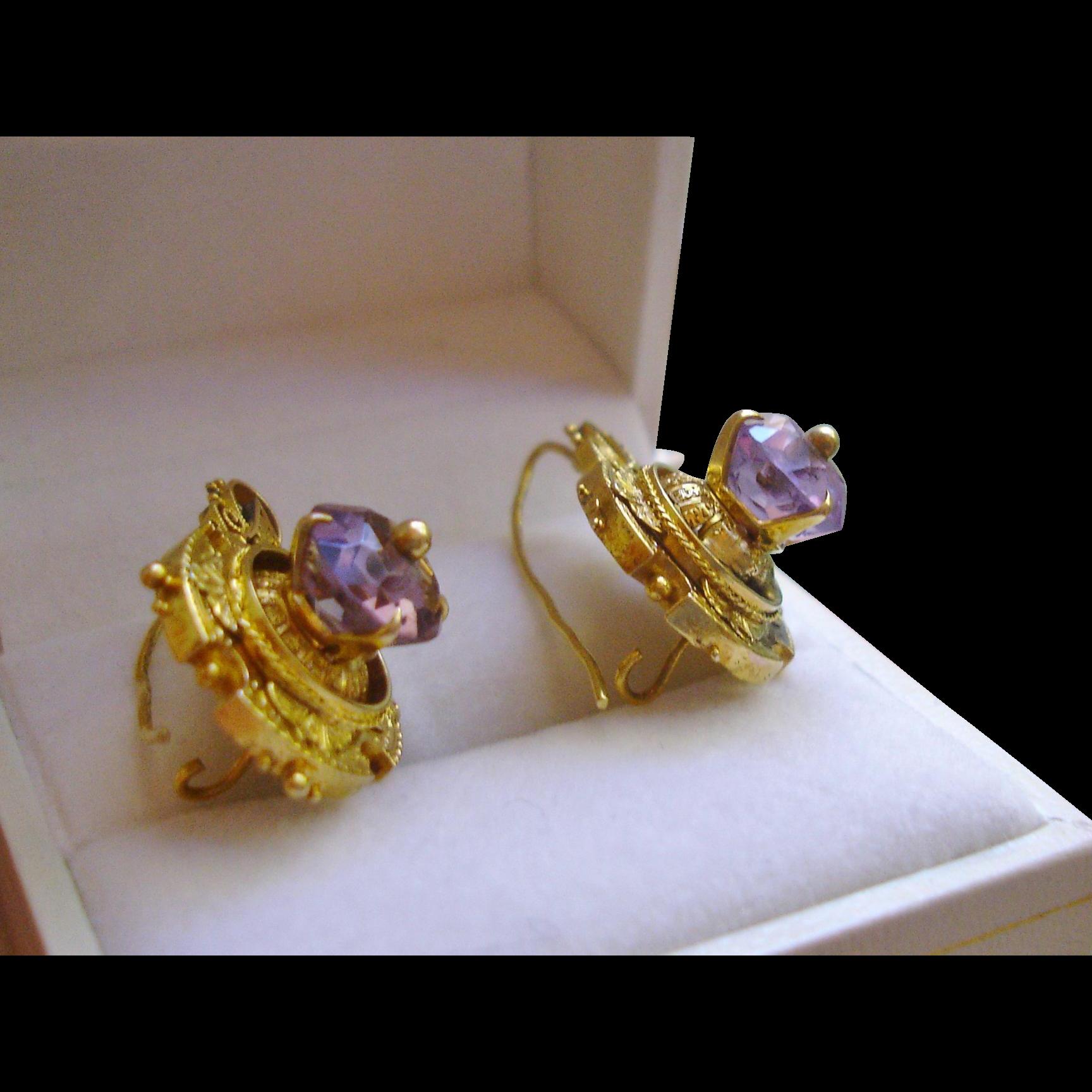 Victorian 14k Gold Ornate Etruscan Amethyst Earrings