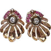 Clam Shape 14k Rose Gold Retro Earrings w. Diamonds & Rubies